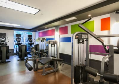 colorful fitness center with fitness equipment