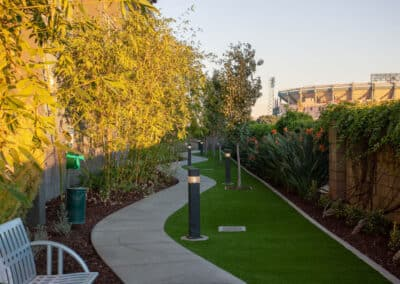 walkways with beautiful landscaping
